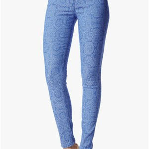 7FAM The Skinny in Moroccan Blue Jacquard Jeans